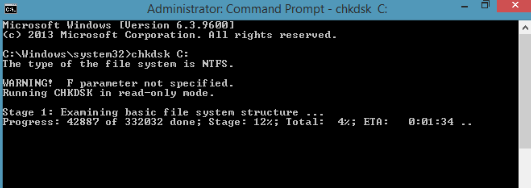 chkdsk command screen