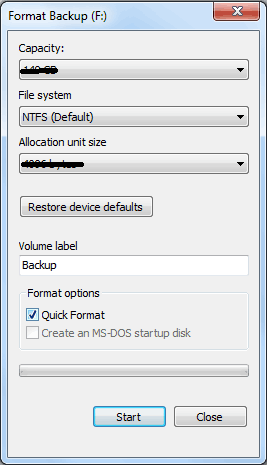 Quick Format Hard Drive