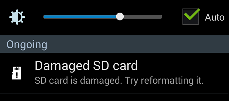 Damaged SD Card Error