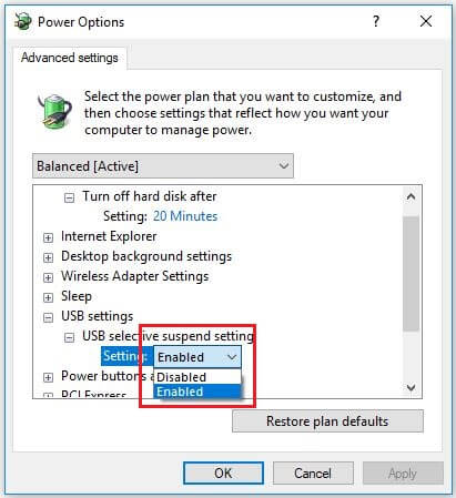 USB selective suspend settings