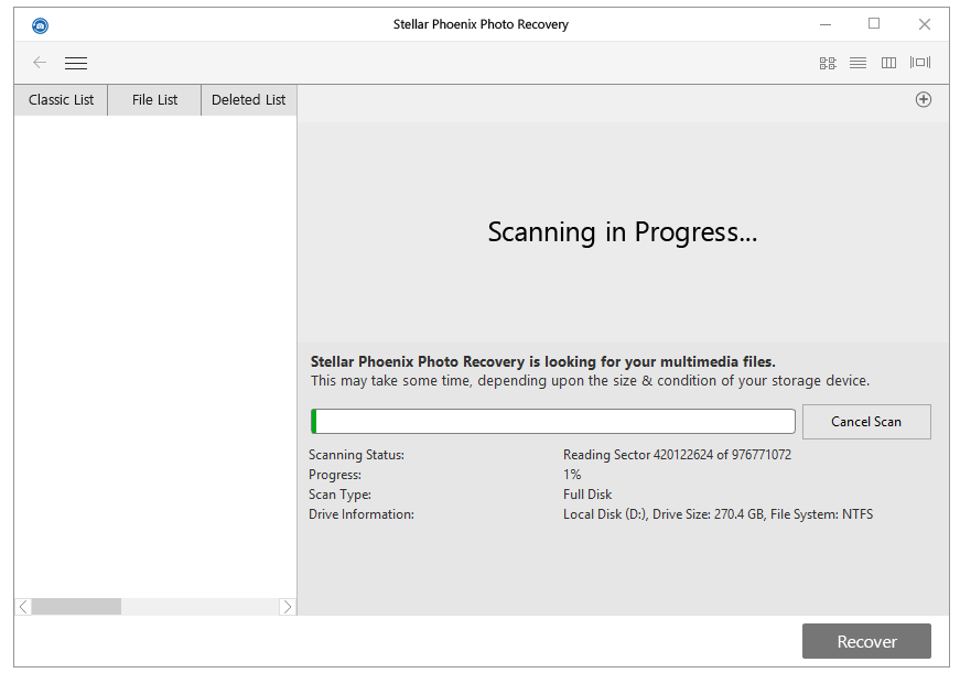 Photo Recovery- Scanning Process