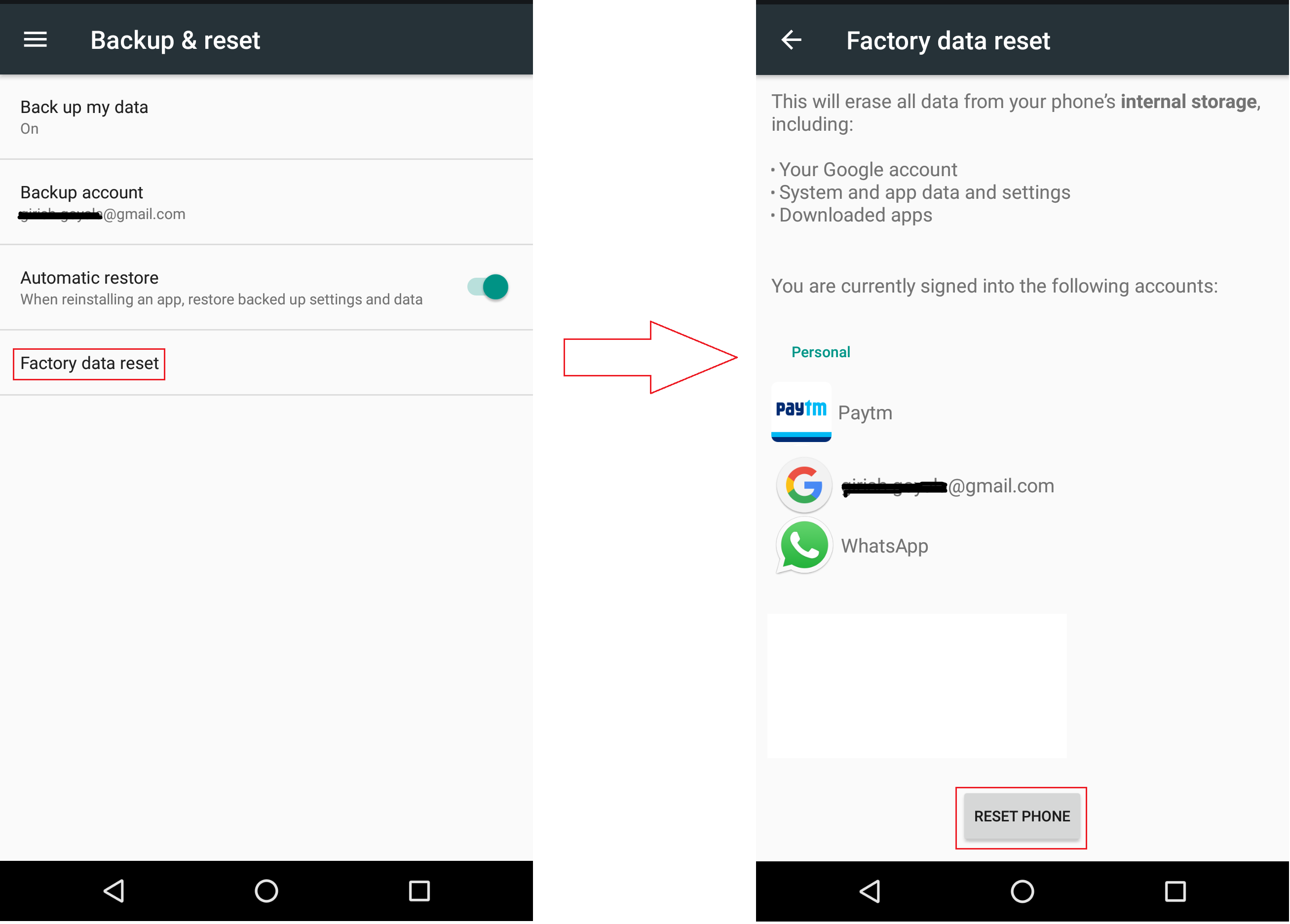 Mobile Factory Data Reset