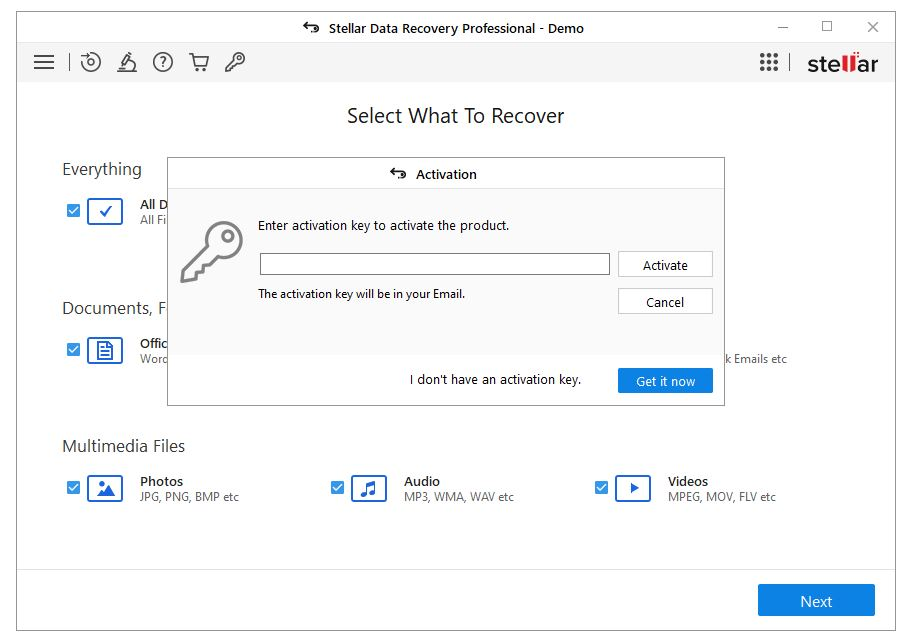 stellar data recovery activation