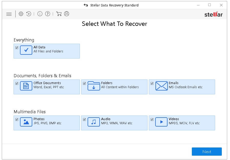 Stellar Data Recovery Software Screen