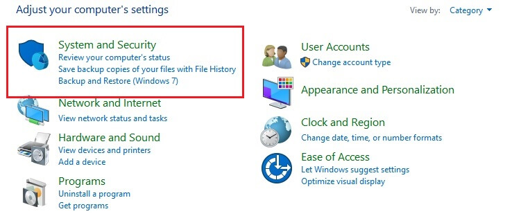 System and Security Tab