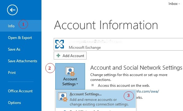Account Info - Outlook