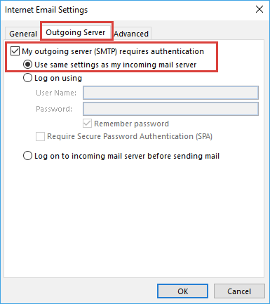 Internet Email Setting
