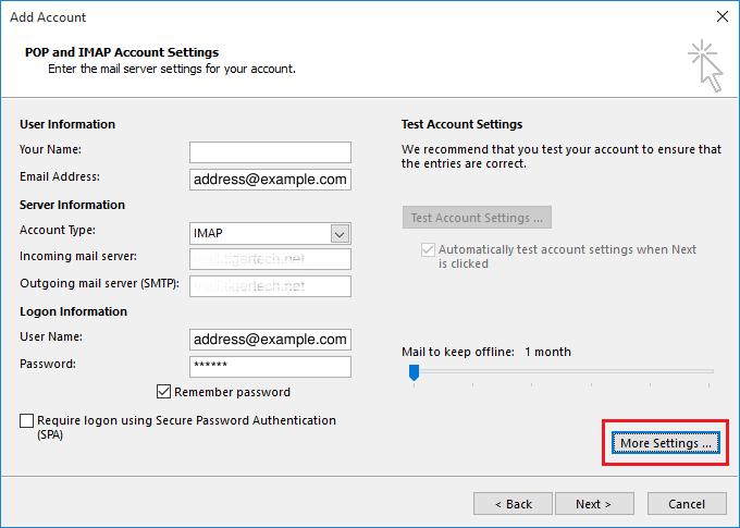 pop and imap account setting