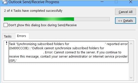 IMAP error 0x800CCC0E - Synchronization