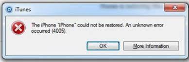 iTune Error 4005