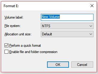 Format the Disk Volume