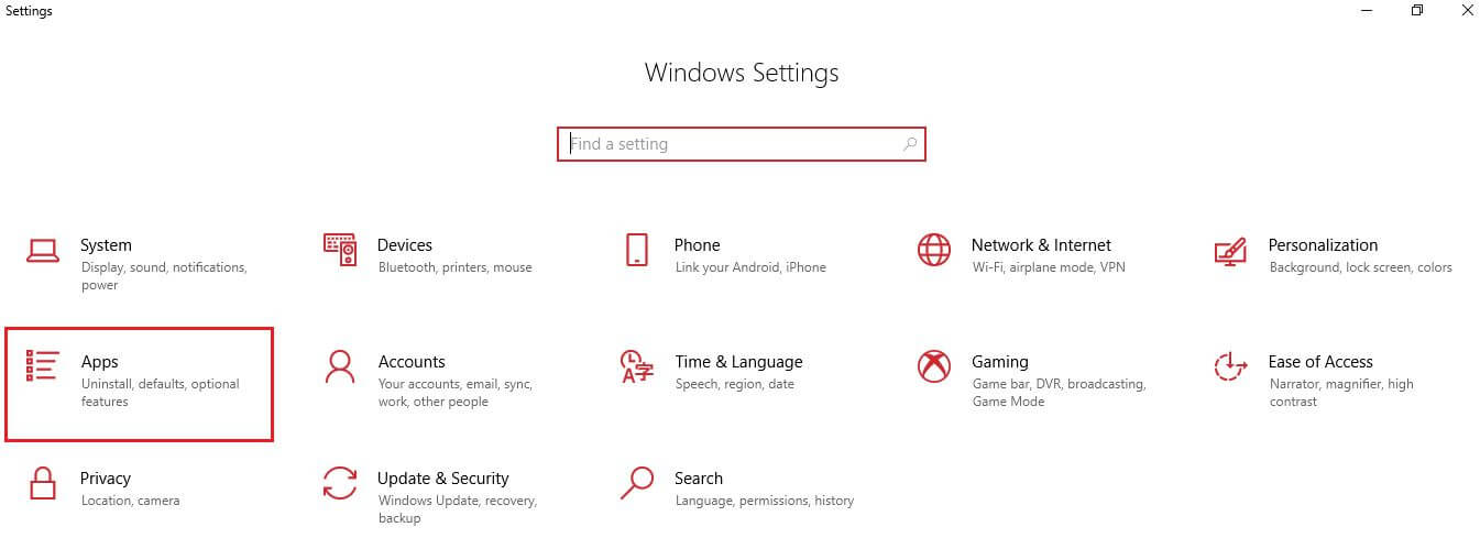 Windows Setting screen