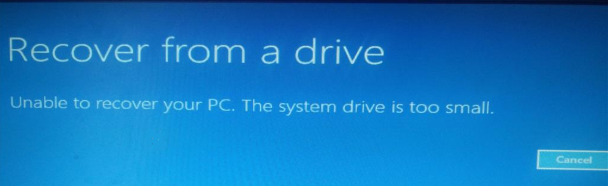 Unable to recover pc. The system drive is too small