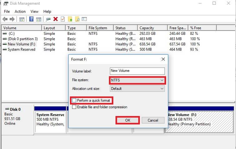 disk management quick format