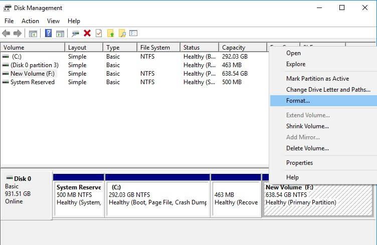 Disk Management utility