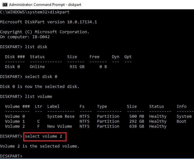 Diskpart Select volume