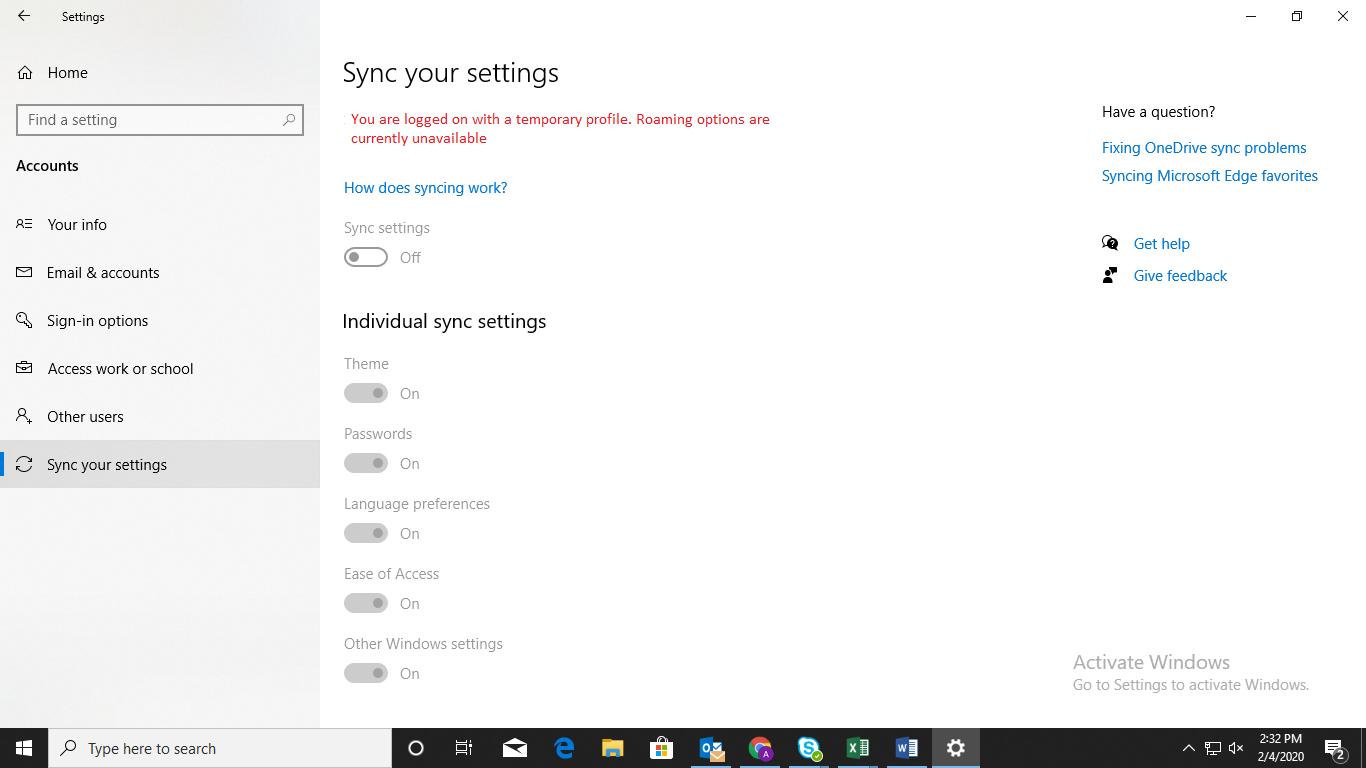 sync setting