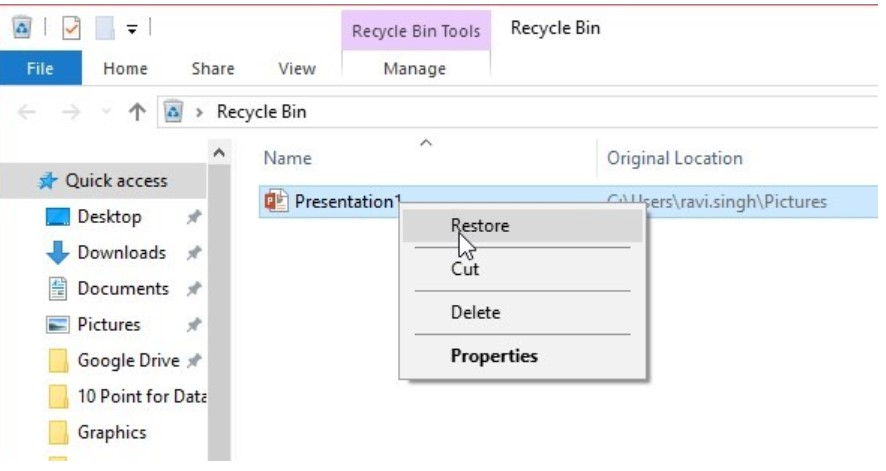 Restore from Recycle Bin