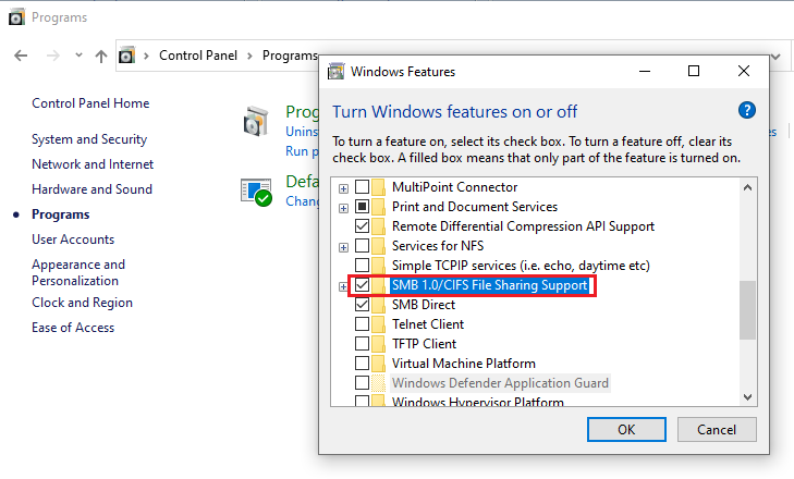 Windows-Feature-file-sharing-support