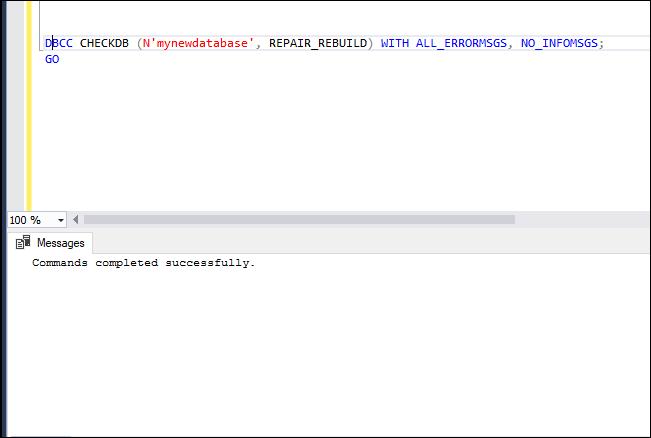 DBCC CHECKDB with REPAIR_REBUILD Argument
