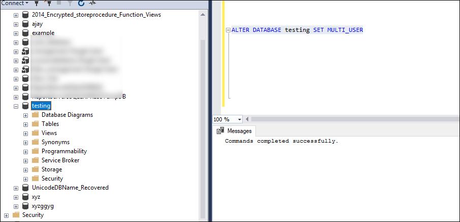 Database_Name SET MULTI_USER