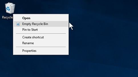 Emptying Recycle Bin in Windows 10