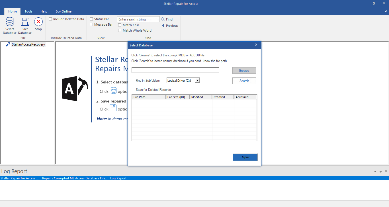 Select Corrupt Database File