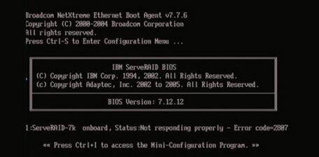 not boot RAID server