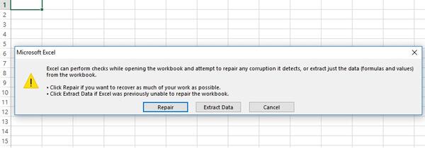 Repair corrupt excel file