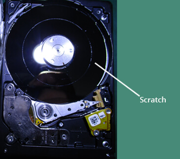 Hard drive Platter with deep scratch