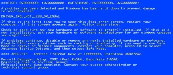 Blue Screen of Death Error