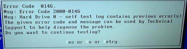 Hard Drive Error code: 2000-0146