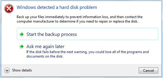 Windows Detected Hard Drive Problem