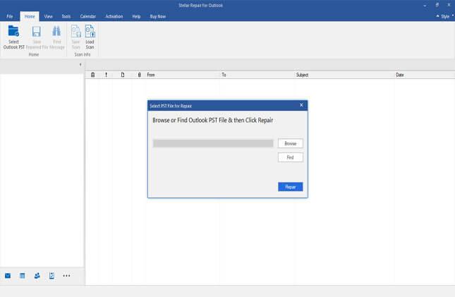 home screen of pst repair software