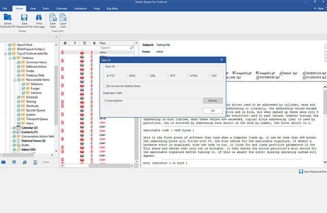 preview of repaired pst emails folders contacts outlook