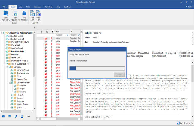 saved repaired outlook emails to pst eml msg pdf
