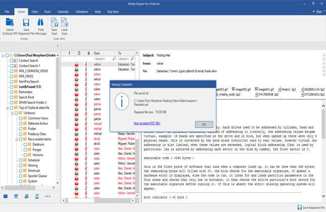 outlook mailbox repair software shows saving process